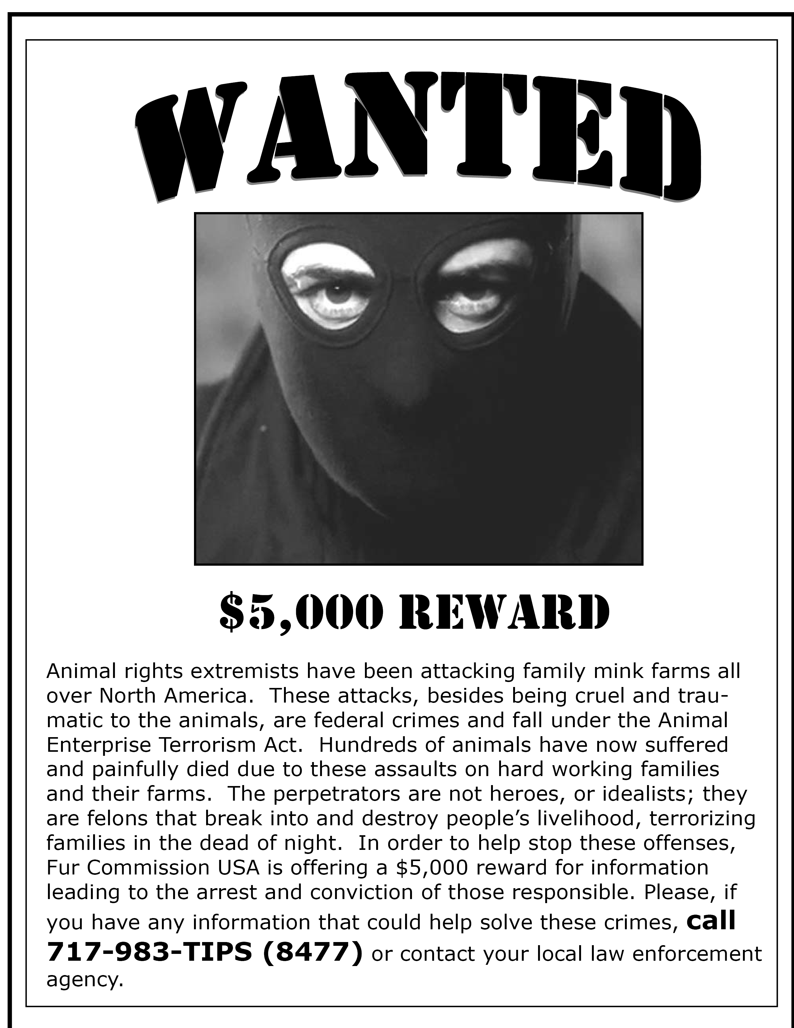Animal Liberation Front wanted poster